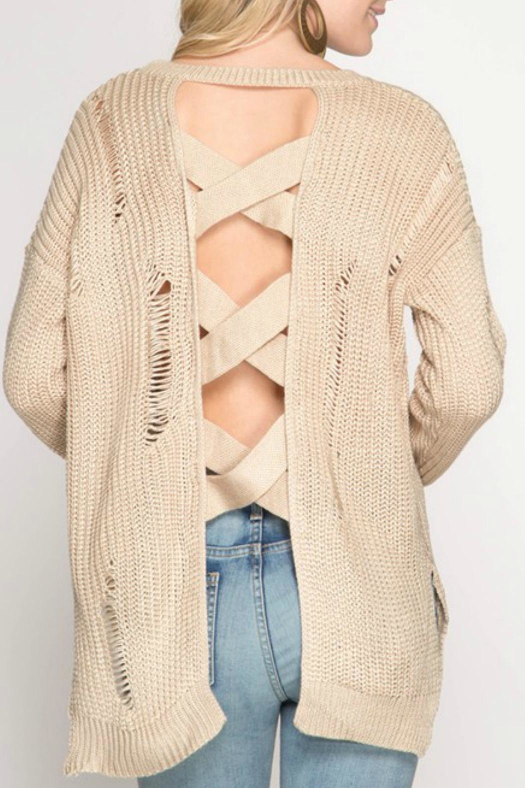 She + Sky Distressed Open-Back Sweater - Front Full Image