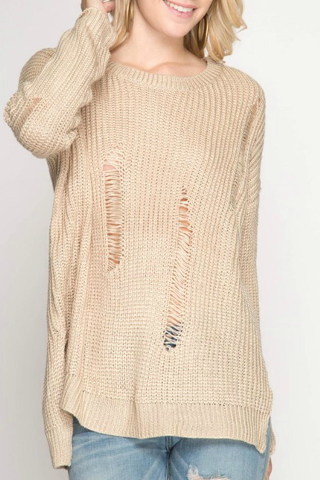 She + Sky Distressed Open-Back Sweater - Main Image