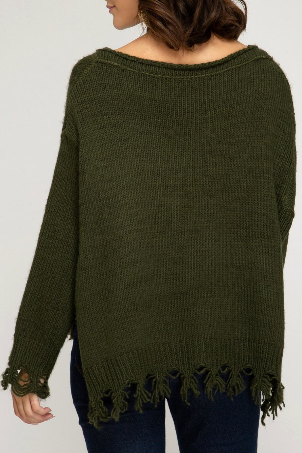 She + Sky Distressed Pullover Sweater - Front Full Image