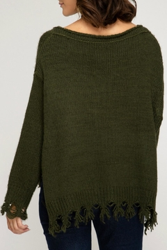 She + Sky Distressed Pullover Sweater - Alternate List Image