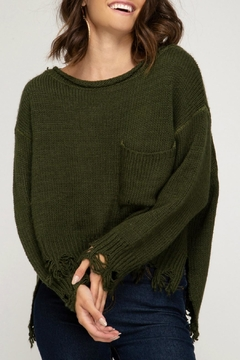 She + Sky Distressed Pullover Sweater - Product List Image