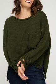 She + Sky Distressed Pullover Sweater - Product Mini Image