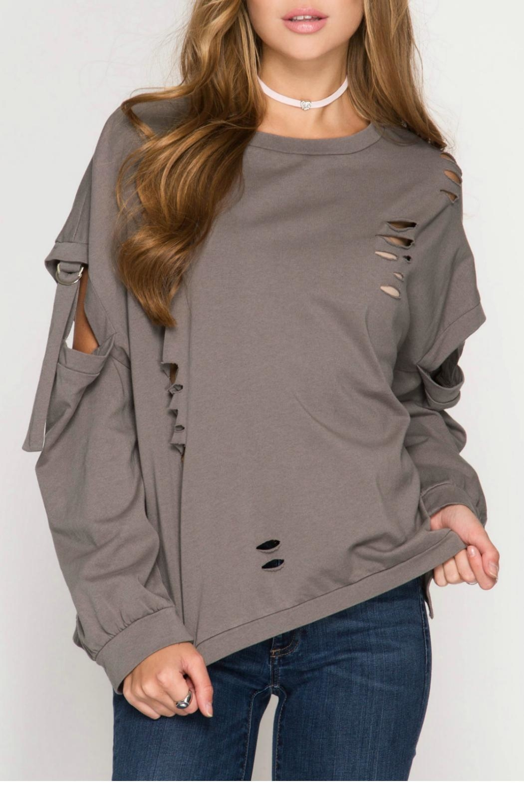 She + Sky Distressed Pullover Sweater - Main Image