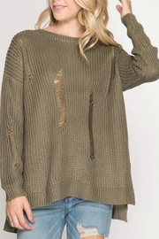 She + Sky Distressed Sweater - Product Mini Image