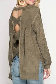 She + Sky Distressed Sweater - Front full body