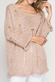 She + Sky Distressed Sweater - Front cropped