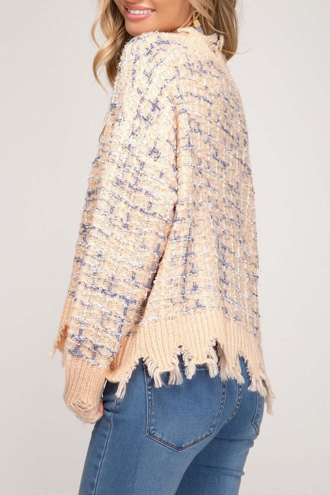 She + Sky Distressed Tweed Sweater - Side Cropped Image