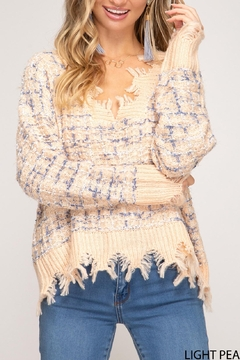 She + Sky Distressed Tweed Sweater - Product List Image