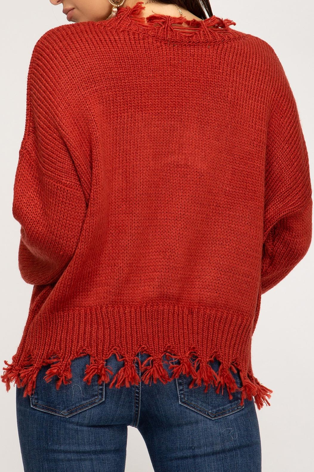 She + Sky Distressed V-Neck Sweater - Front Full Image