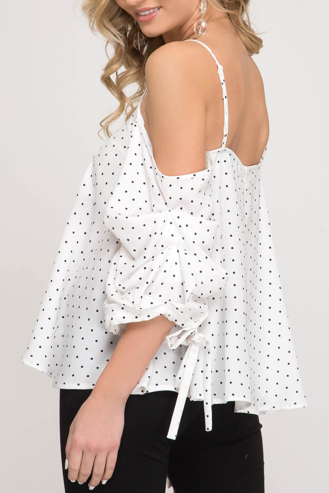 She + Sky Dottie Cold Shoulder - Front Full Image