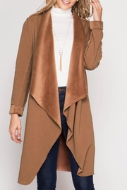 She + Sky Double Faced Open Cardigan - Front cropped