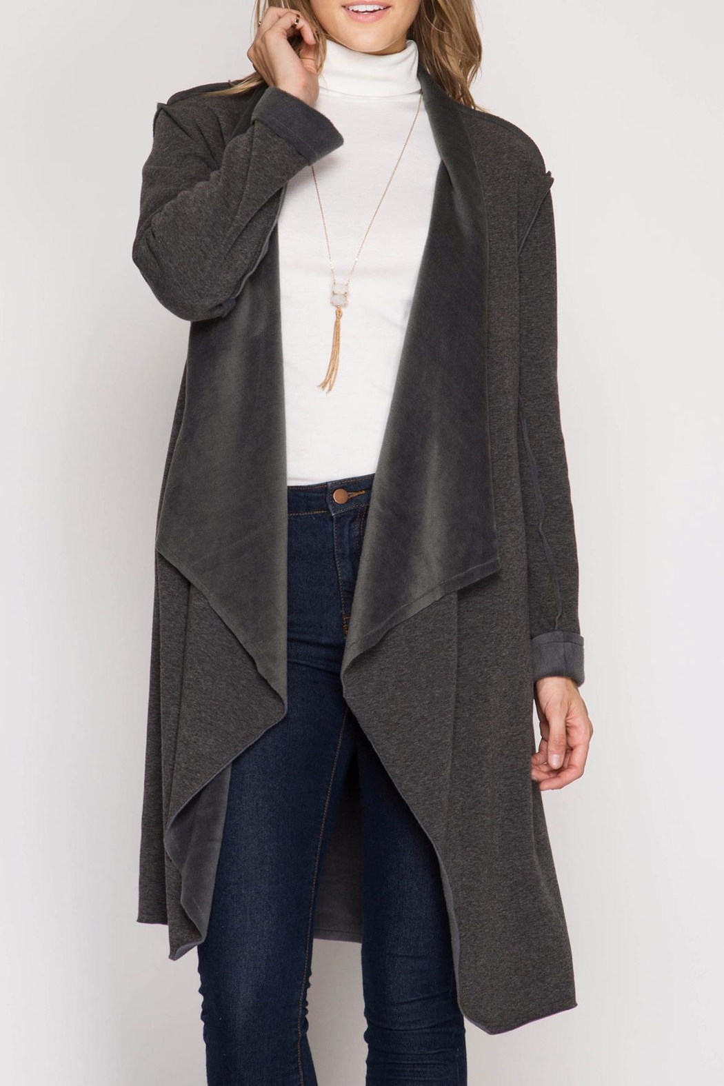 She + Sky Double Faced Open Cardigan - Front Cropped Image