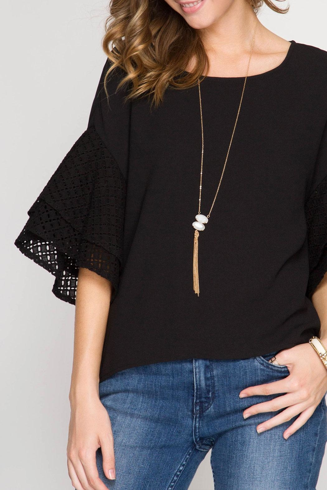 She + Sky Double Ruffled Top - Front Cropped Image