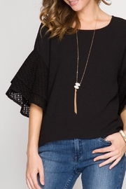 She + Sky Double Ruffled Top - Front cropped