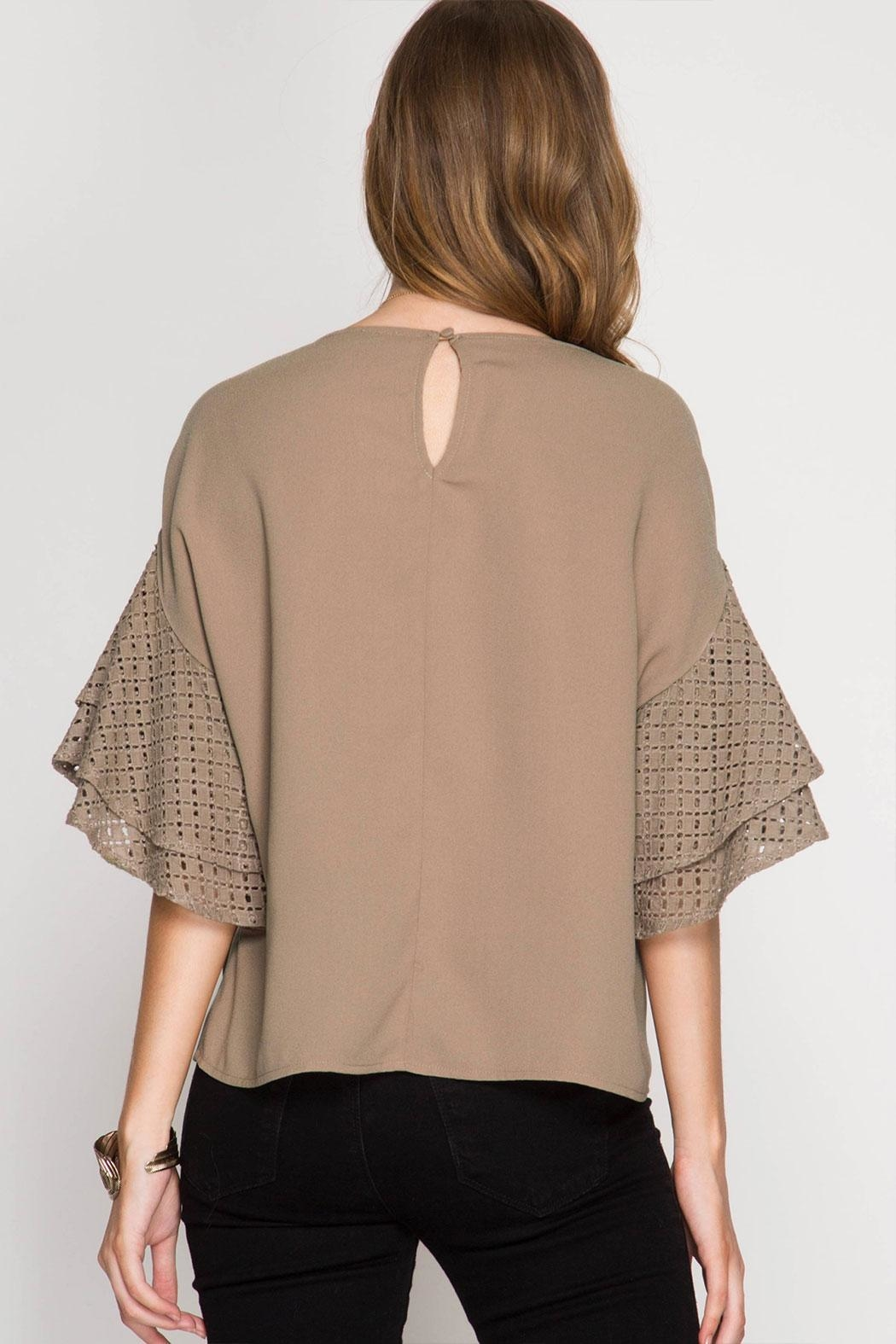 She + Sky Double Ruffled Top - Front Full Image