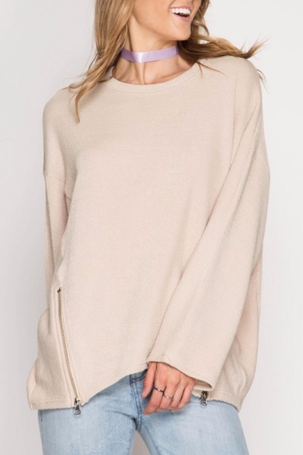 She + Sky Double Zipper Sweater - Front Cropped Image