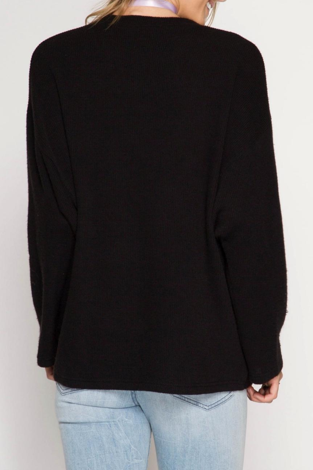 She + Sky Double Zipper Sweater - Front Full Image