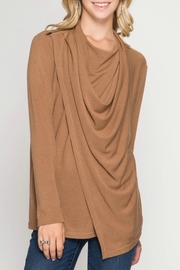 She + Sky Drapey Neck Top - Front cropped