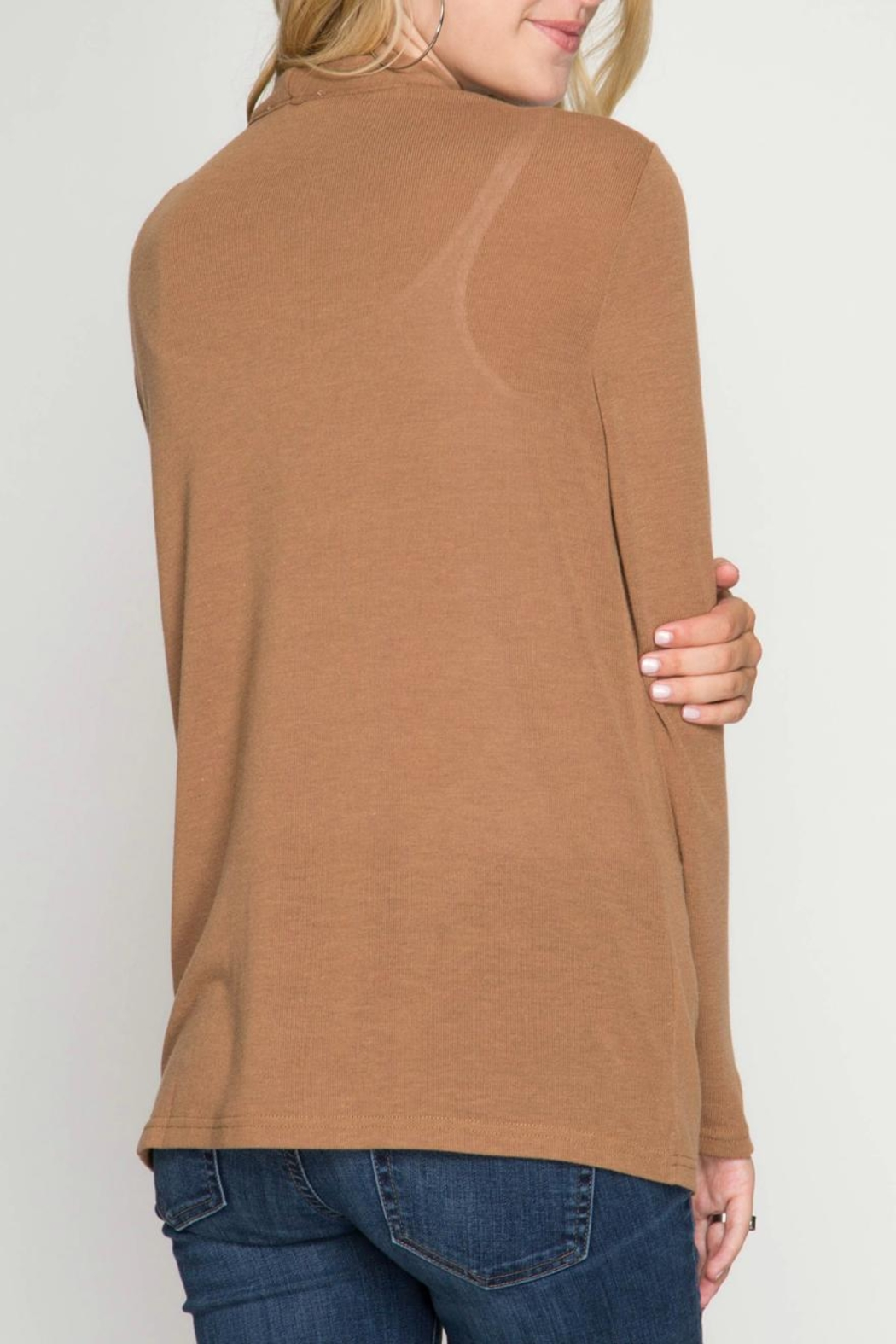 She + Sky Drapey Neck Top - Side Cropped Image
