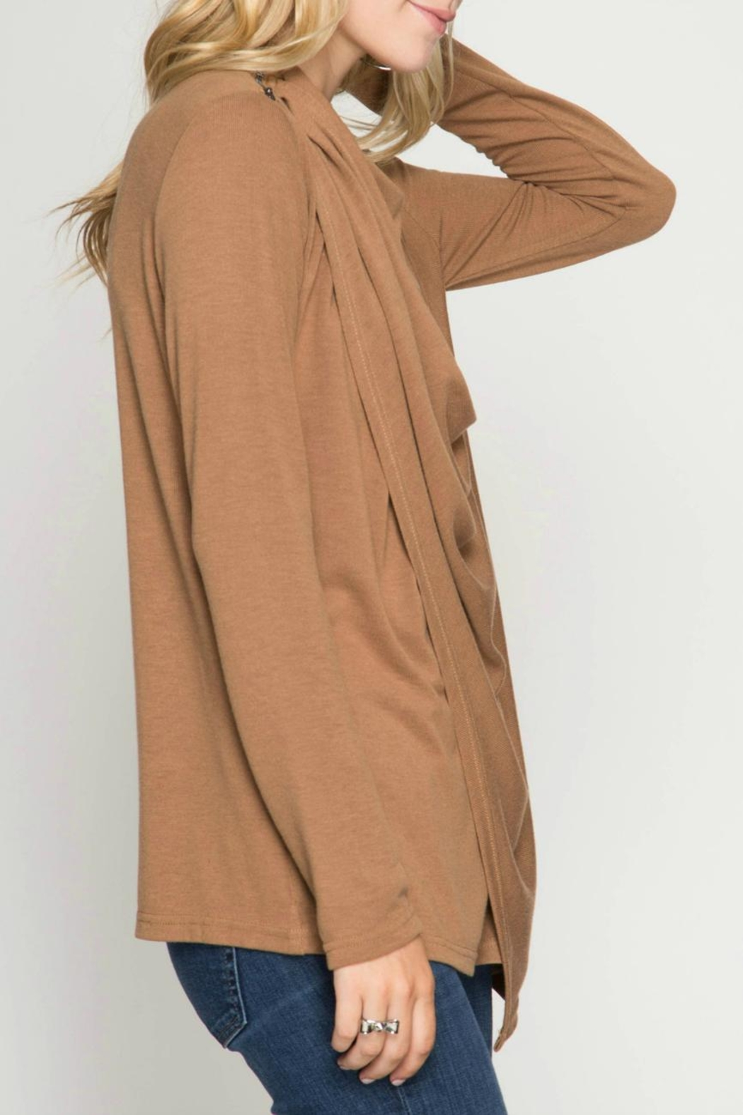 She + Sky Drapey Neck Top - Front Full Image