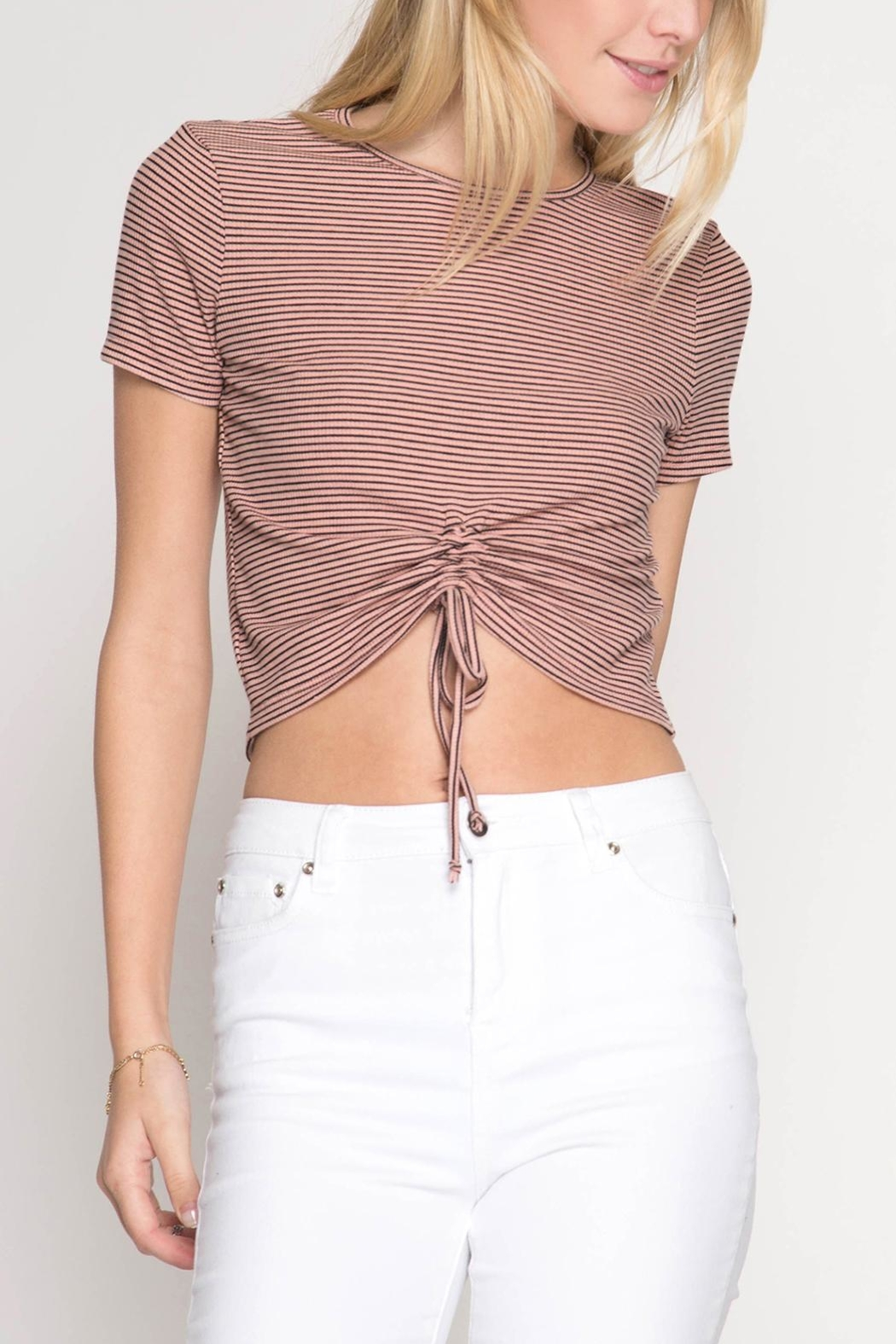 She + Sky Drawstring Crop Top - Front Cropped Image