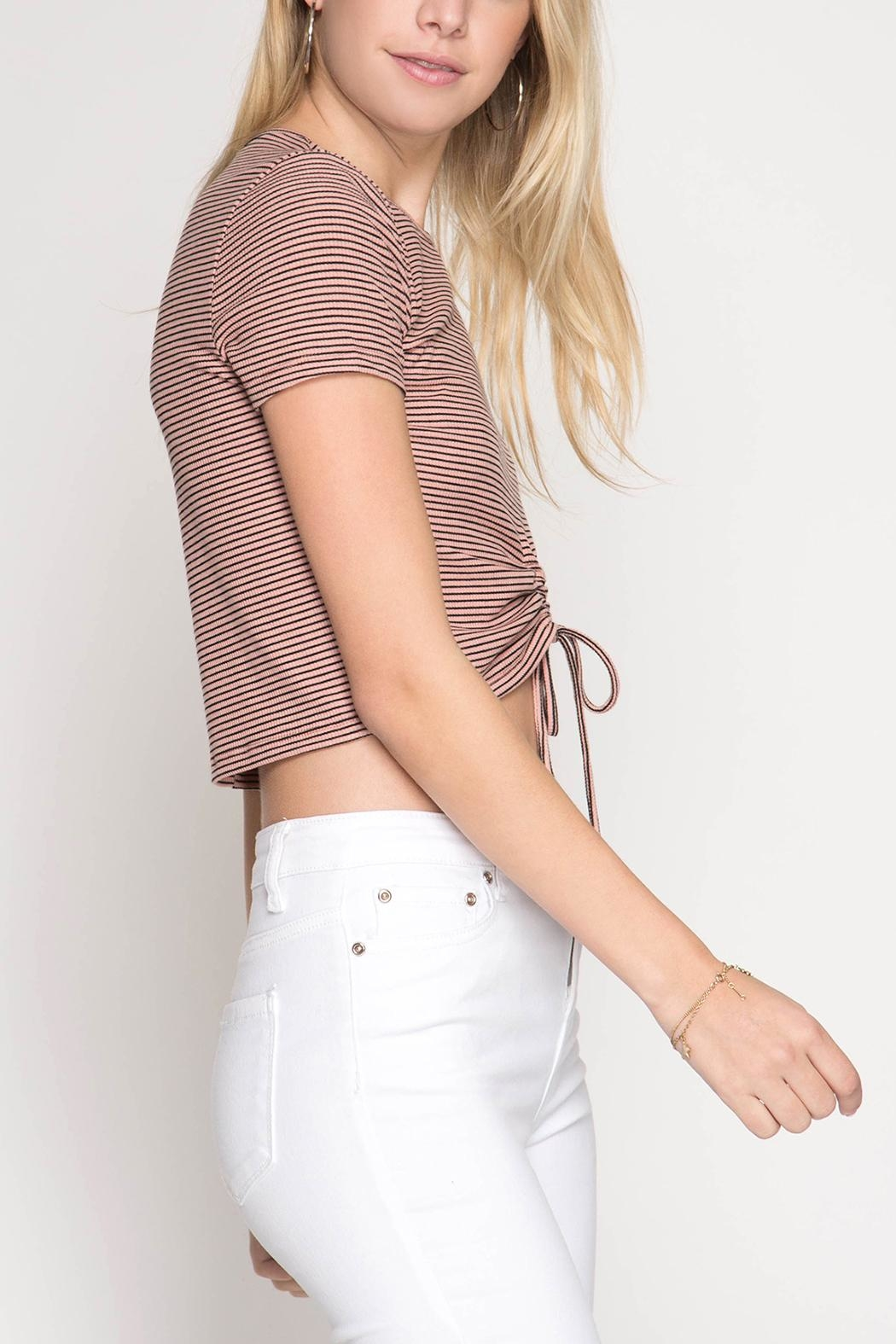 She + Sky Drawstring Crop Top - Front Full Image