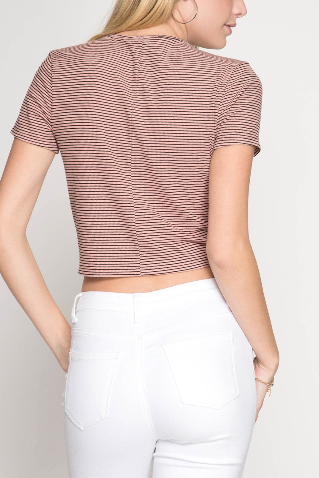 She + Sky Drawstring Crop Top - Side Cropped Image