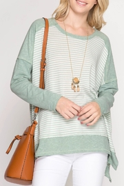 She + Sky Dropped Shoulder Top - Front cropped