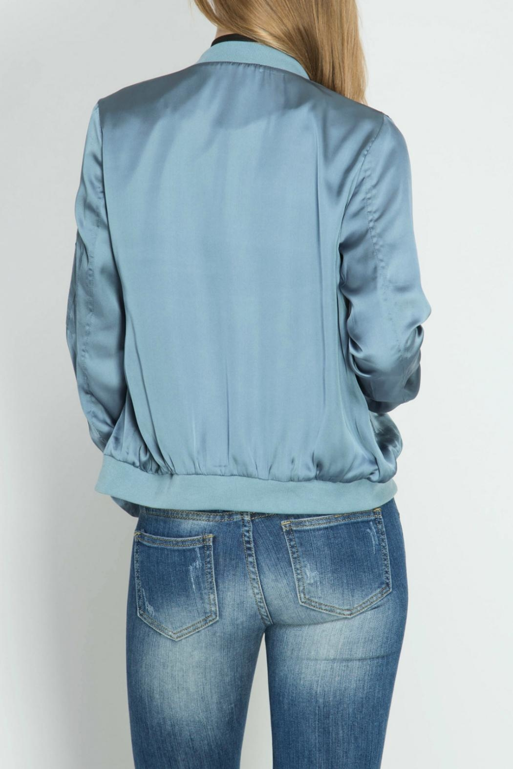 She + Sky Dusty Blue Bomber Jacket - Side Cropped Image