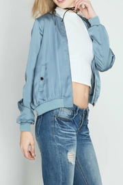 She + Sky Dusty Blue Bomber Jacket - Front full body