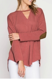 She + Sky Elbow Patched Top - Product Mini Image
