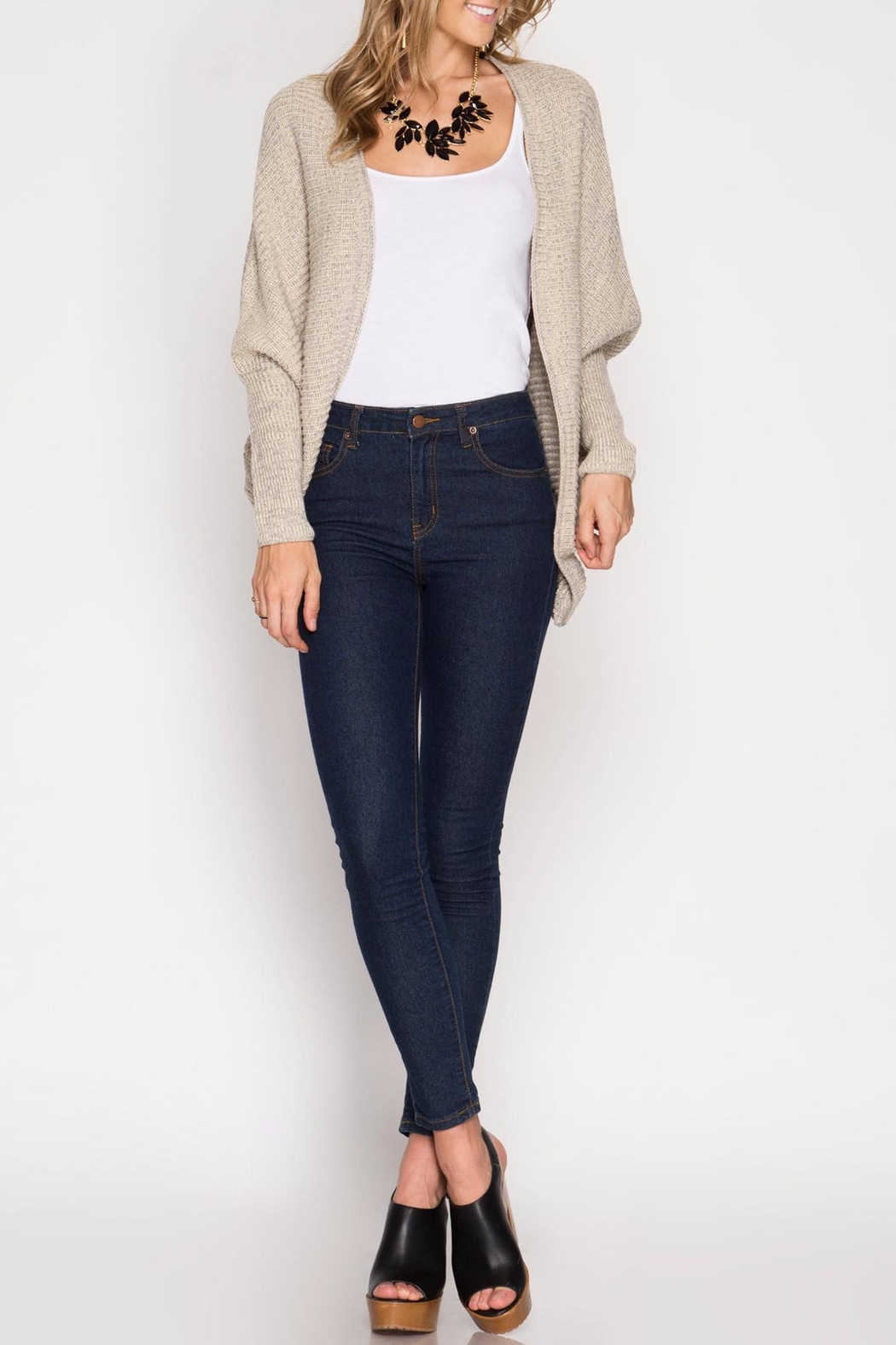 She + Sky Elvira Open Cardigan - Front Cropped Image