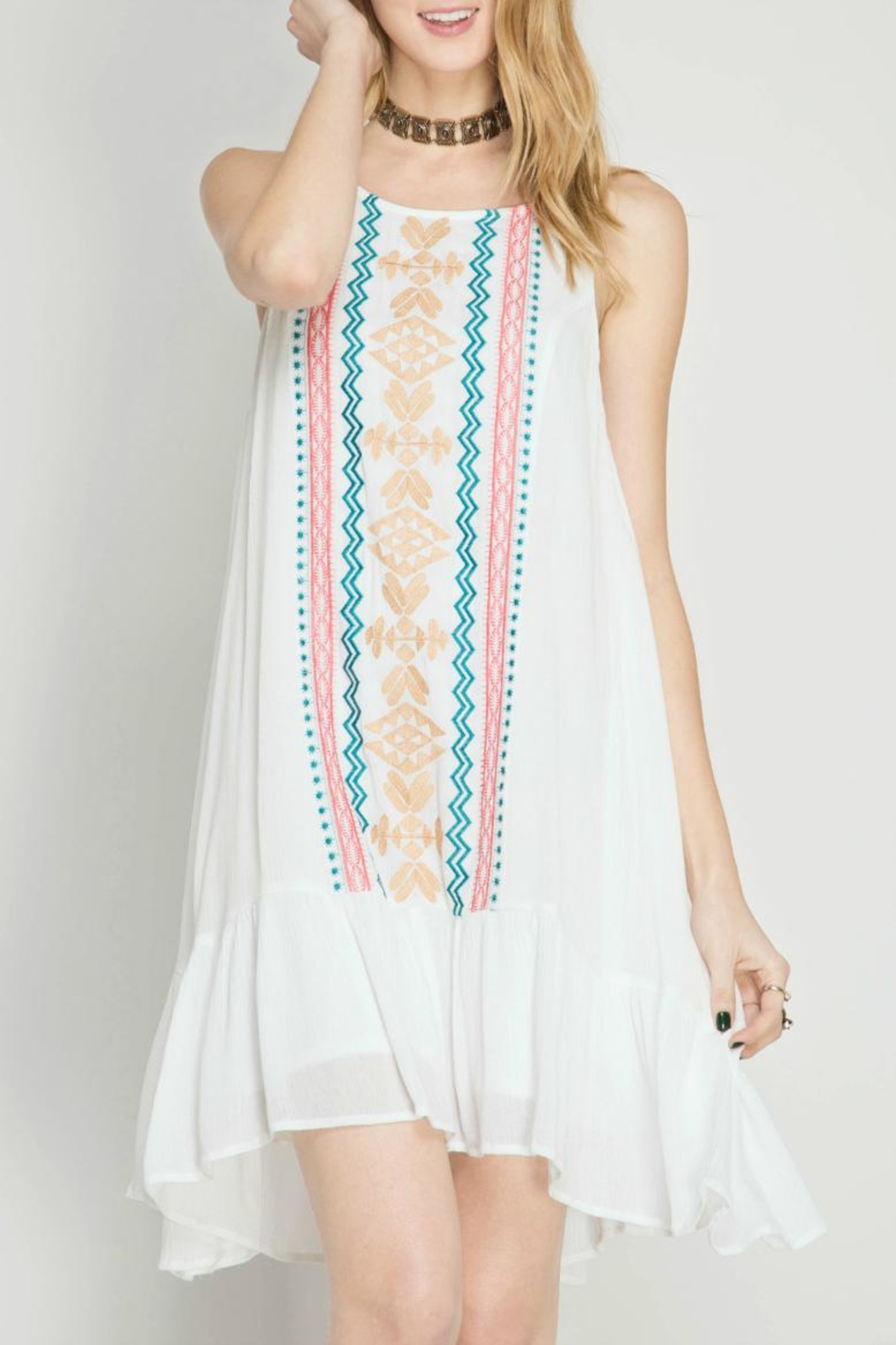She + Sky Embroidered Dress - Front Cropped Image