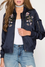 She + Sky Embroidered Satin Bomber - Product Mini Image