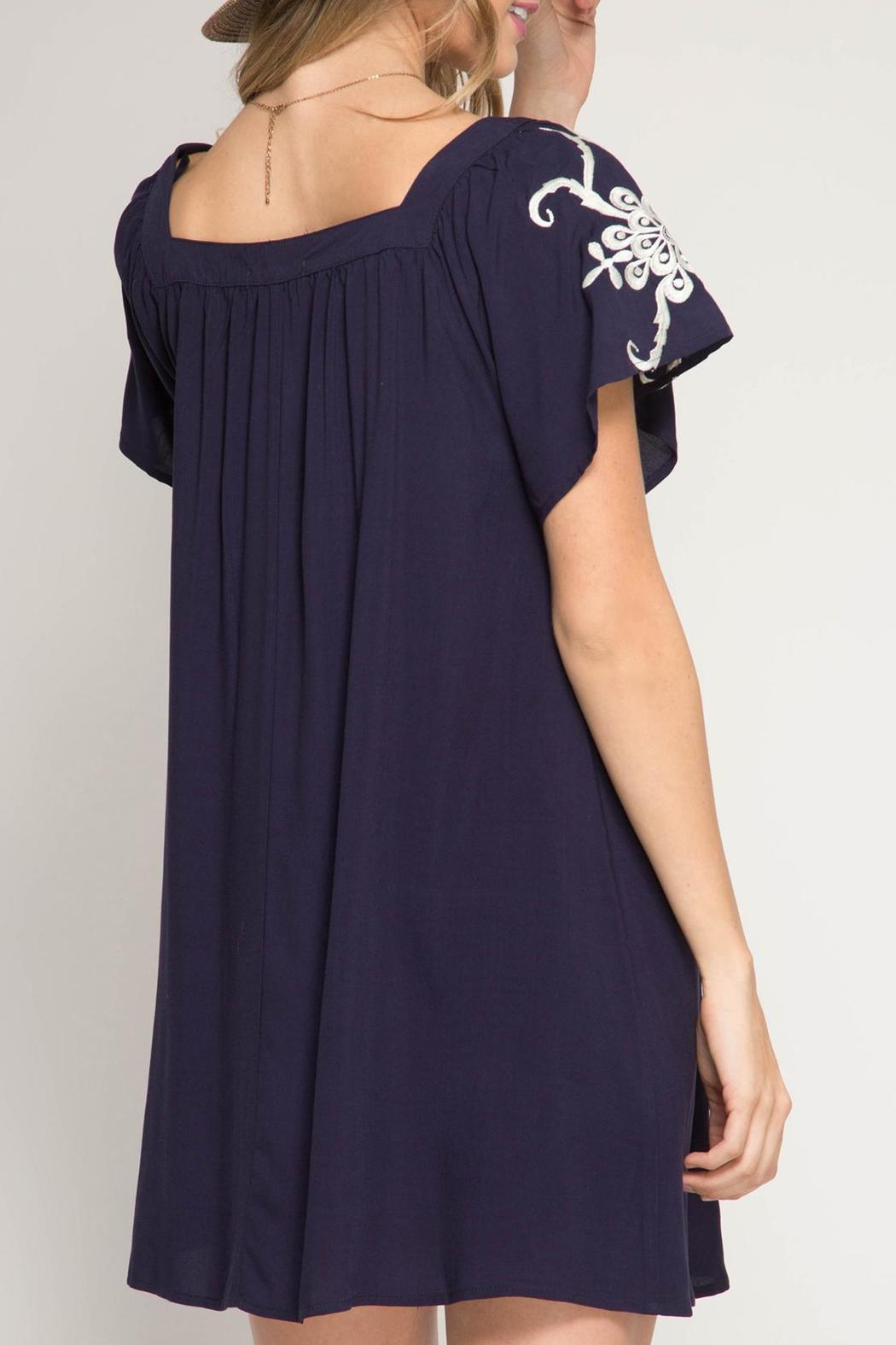 She + Sky Embroidered Swing Dress - Front Full Image