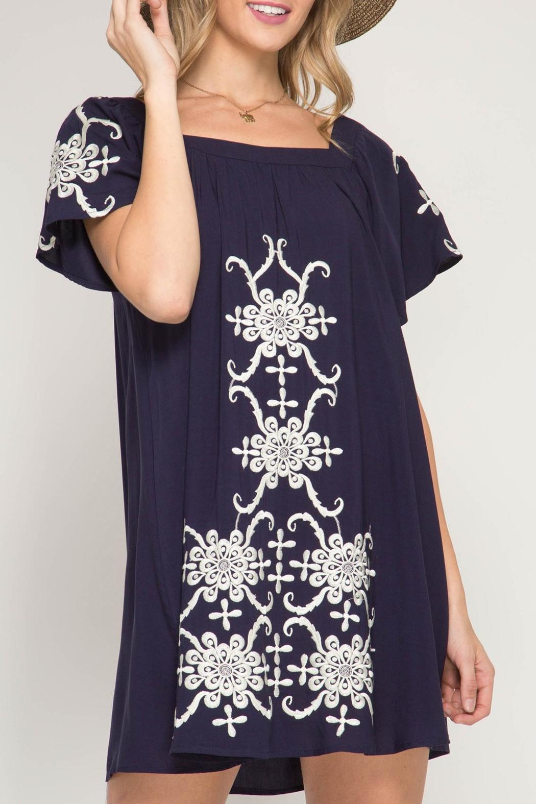 She + Sky Embroidered Swing Dress - Main Image