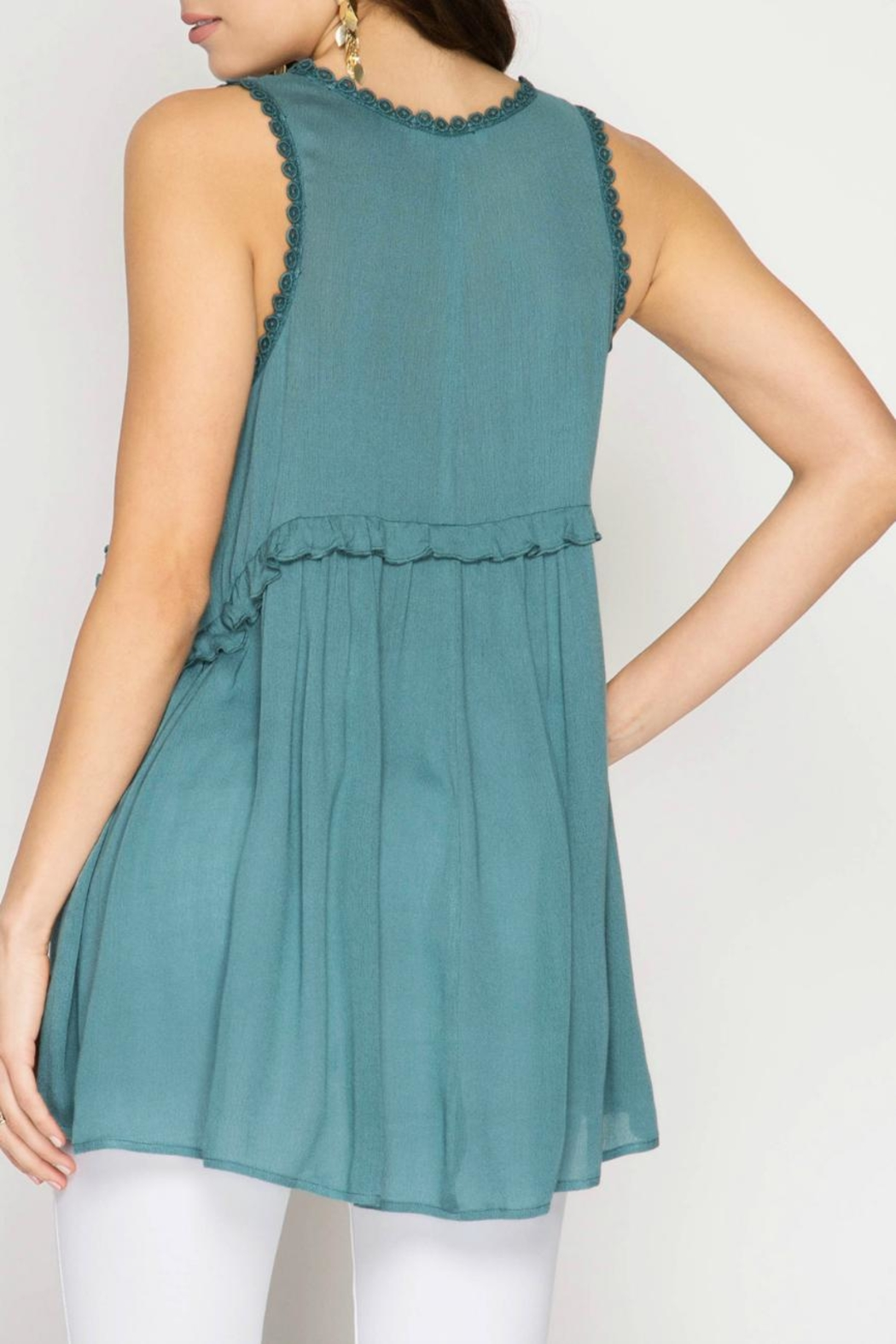 She + Sky Embroidered Tunic Top - Back Cropped Image