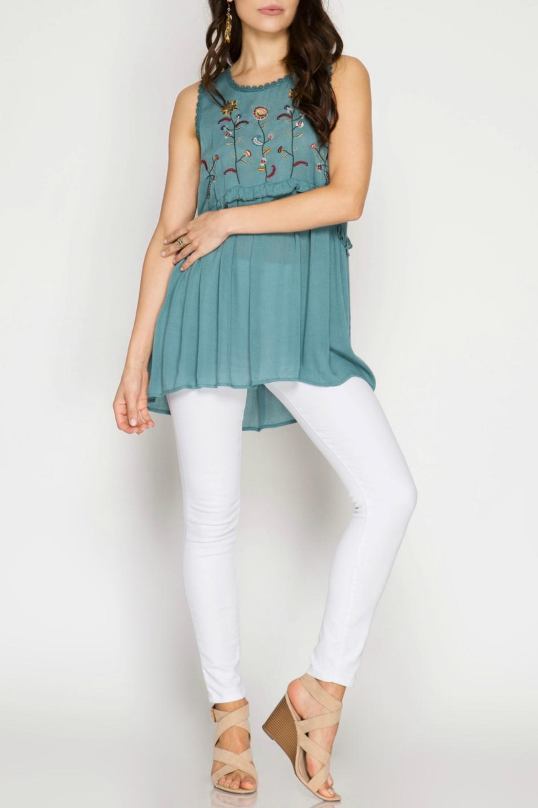 She + Sky Embroidered Tunic Top - Main Image
