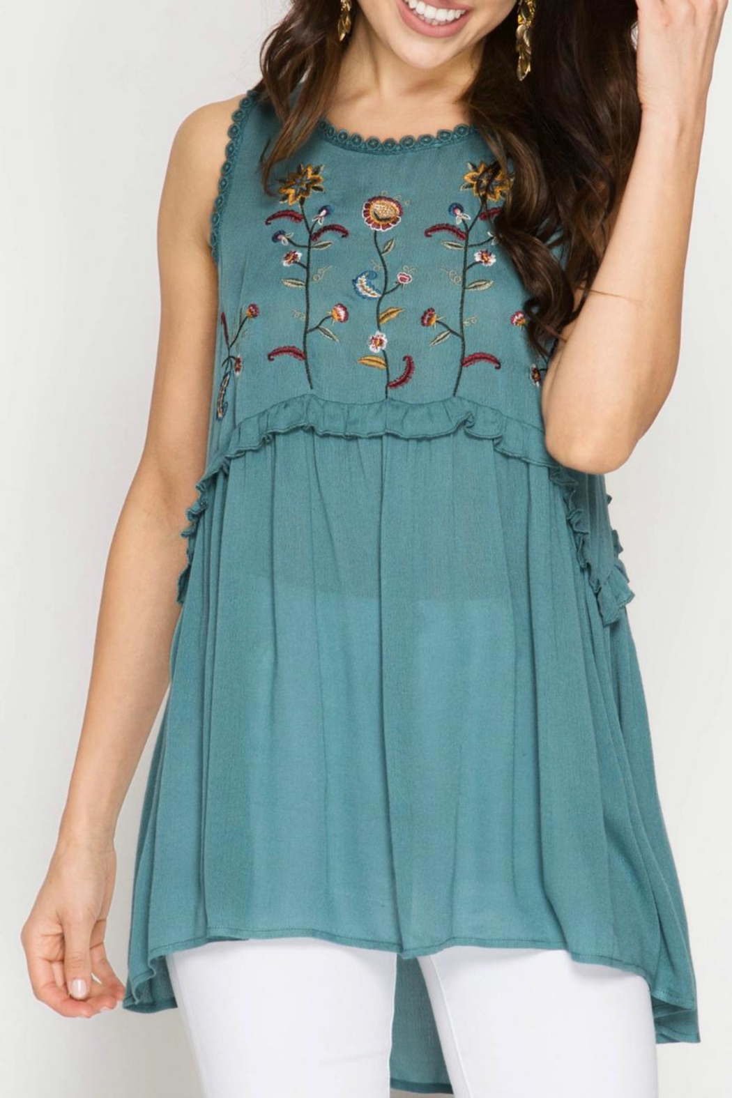 She + Sky Embroidered Tunic Top - Front Full Image