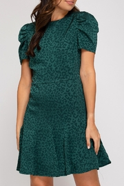 She + Sky Emerald Cheetah Dress - Front cropped