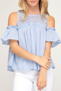 She + Sky Eyelet Cold Shoulder - Alternate List Image