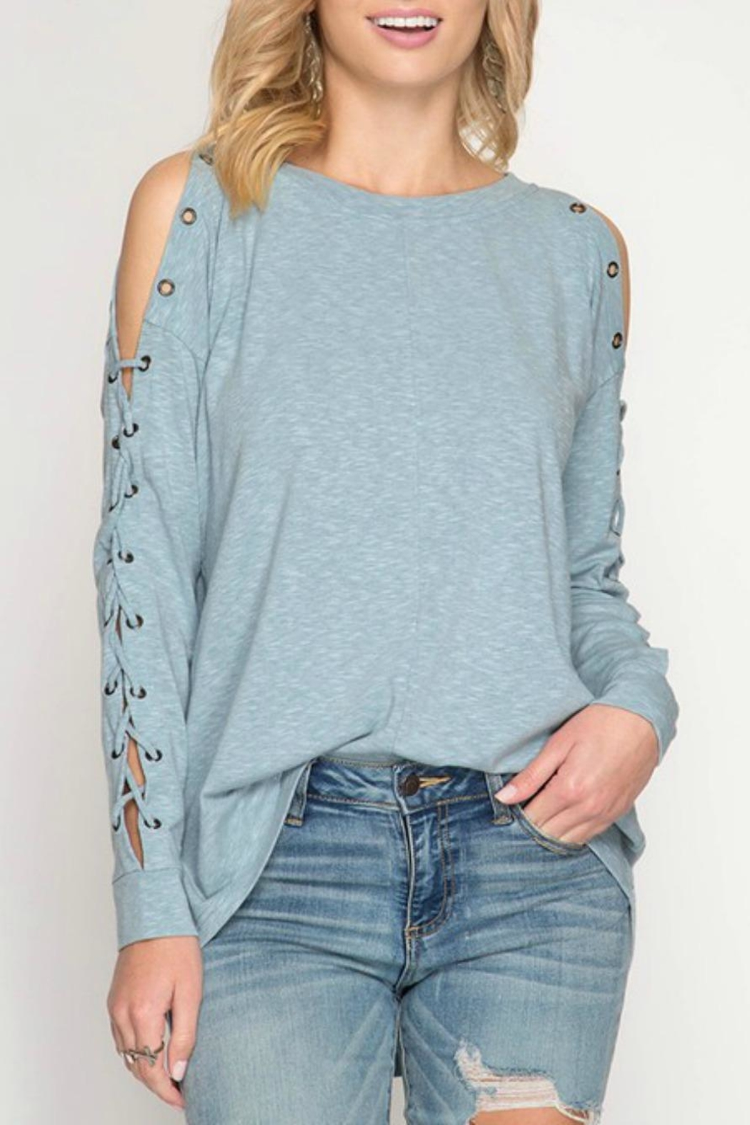 She + Sky Eyelet Lace-Up Pullover - Side Cropped Image