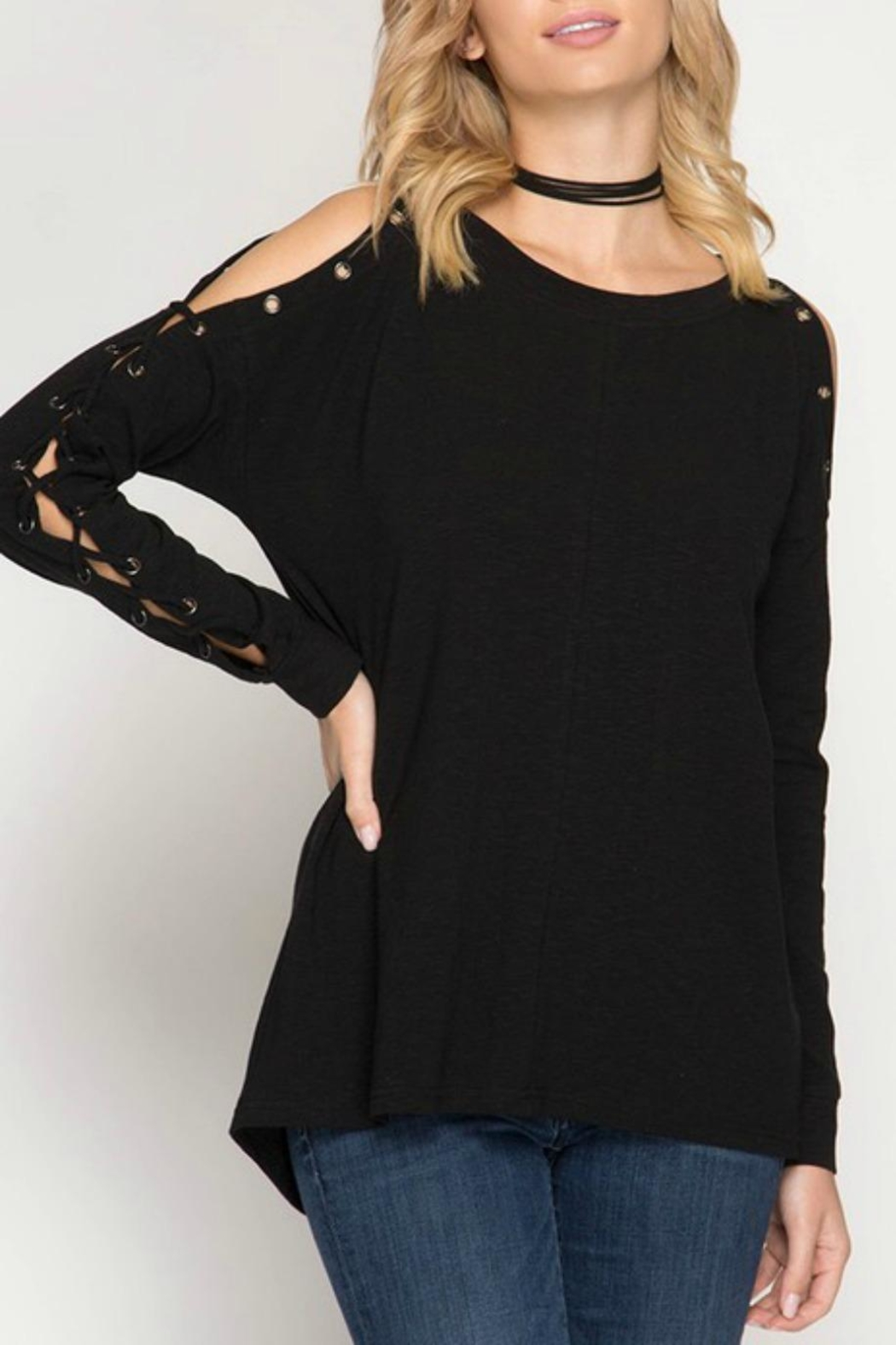 She + Sky Eyelet Lace-Up Pullover - Main Image