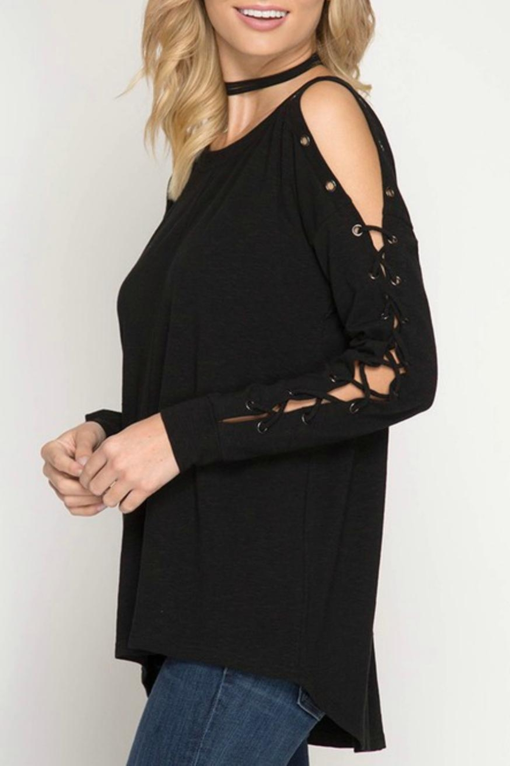 She + Sky Eyelet Lace-Up Pullover - Front Full Image