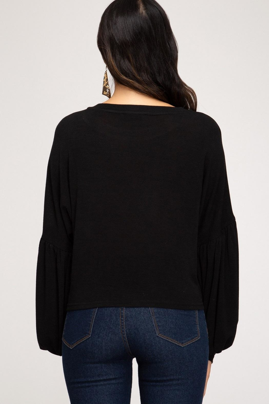 She + Sky Fauna Top Black - Front Full Image