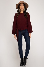 She + Sky Fauna Top Wine - Front full body