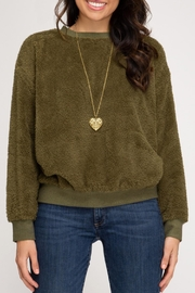She + Sky Faux Fur Pullover - Front full body