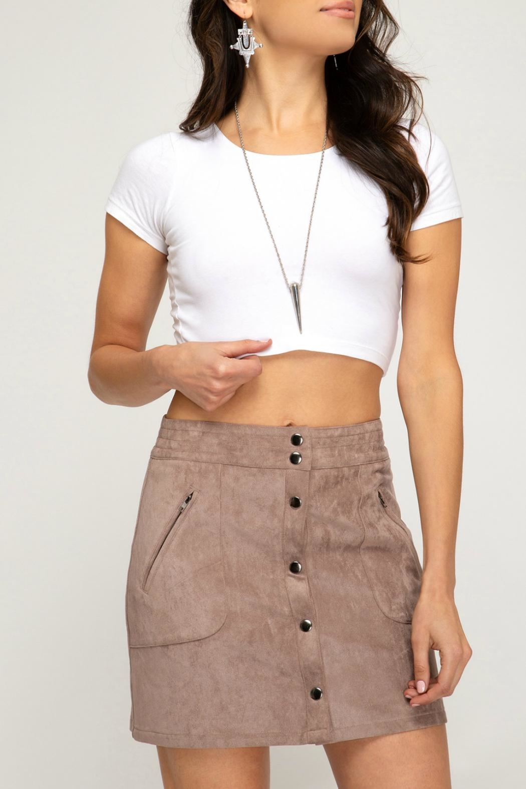 She + Sky Faux-Suede Button-Down Mini-Skirt - Side Cropped Image