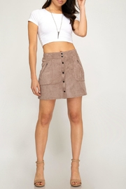 She + Sky Faux-Suede Button-Down Mini-Skirt - Other
