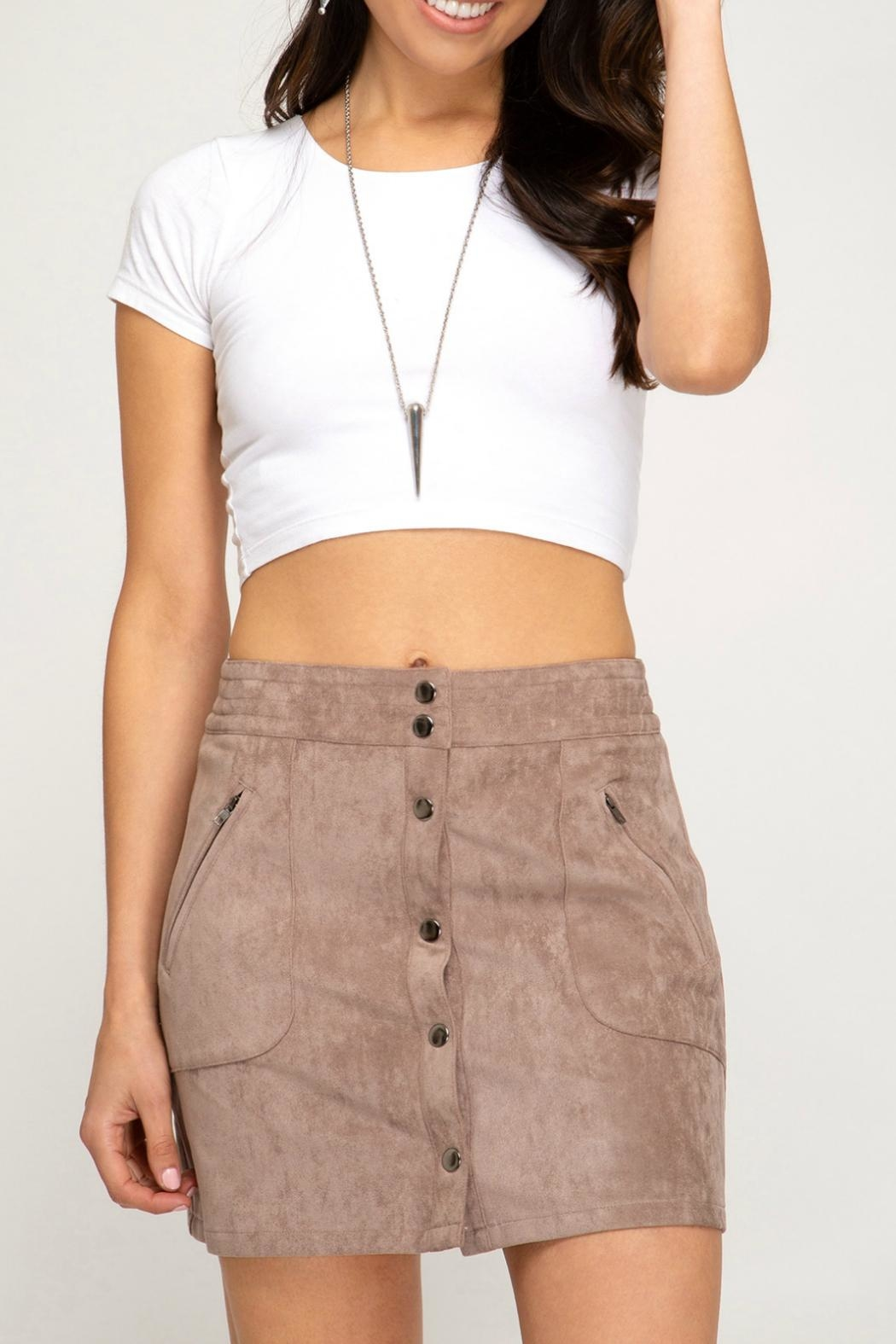 She + Sky Faux-Suede Button-Down Mini-Skirt - Main Image